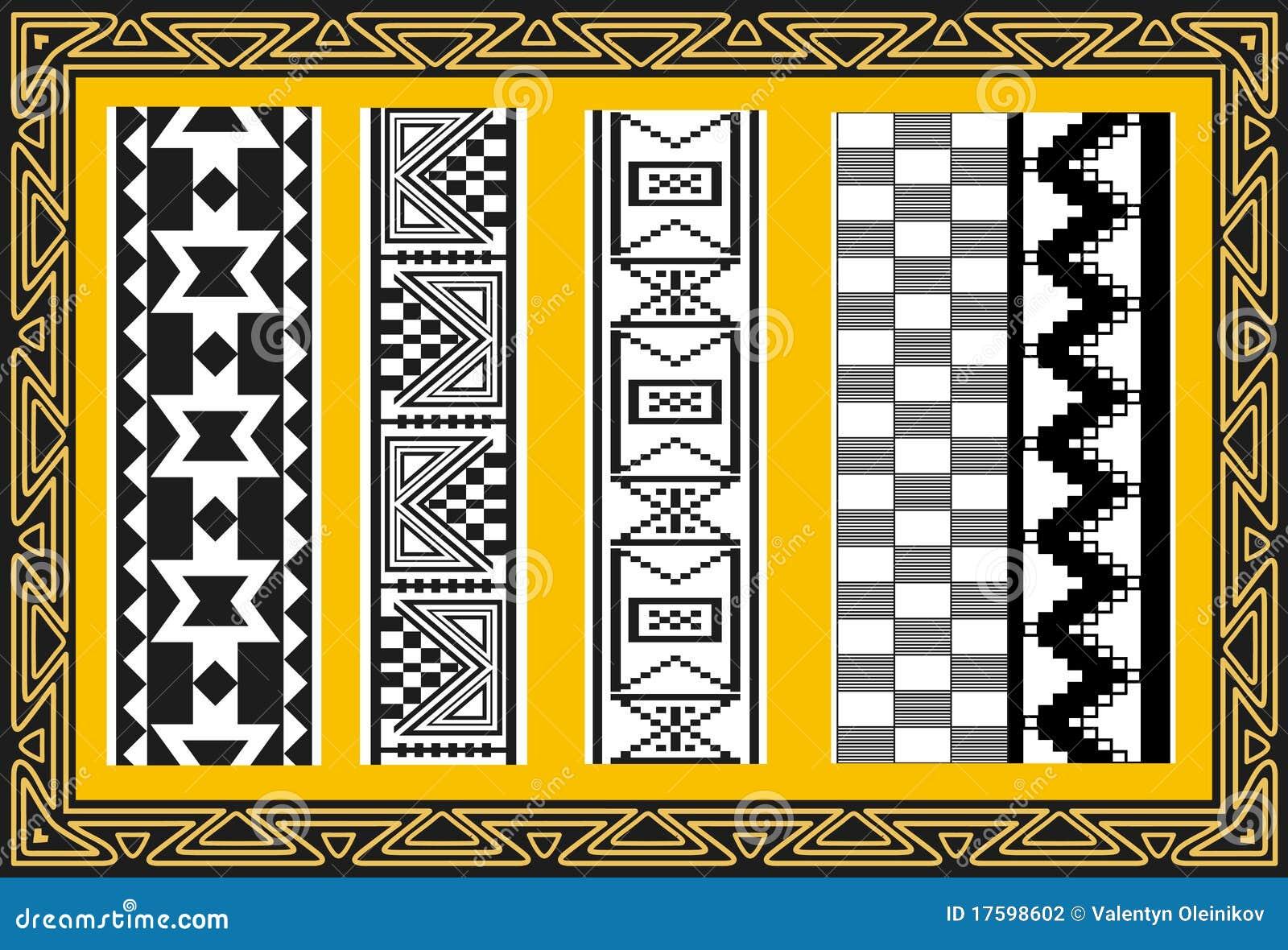 set alte indianische muster vektor abbildung