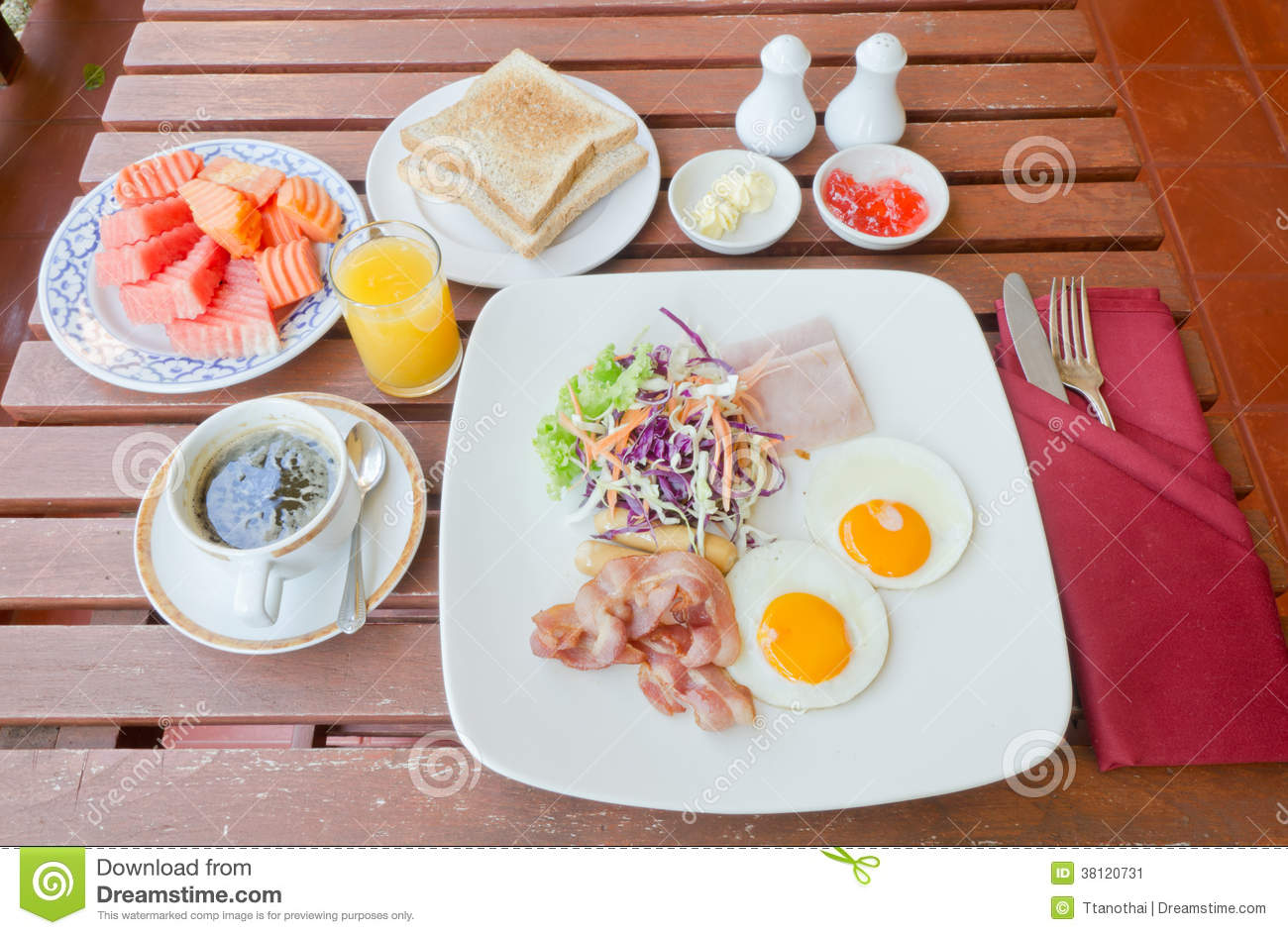 Table Setting For Breakfast Set Of American Breakfast On Wood Table Stock Image Image 38120731