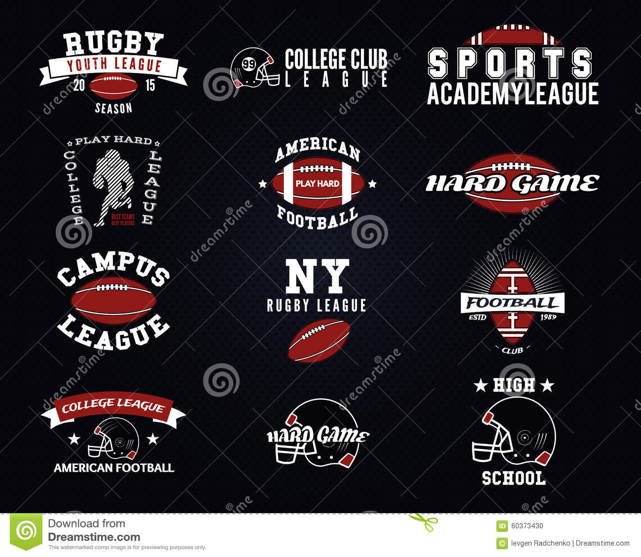 Set of american football college labels logos stock American football style t shirts