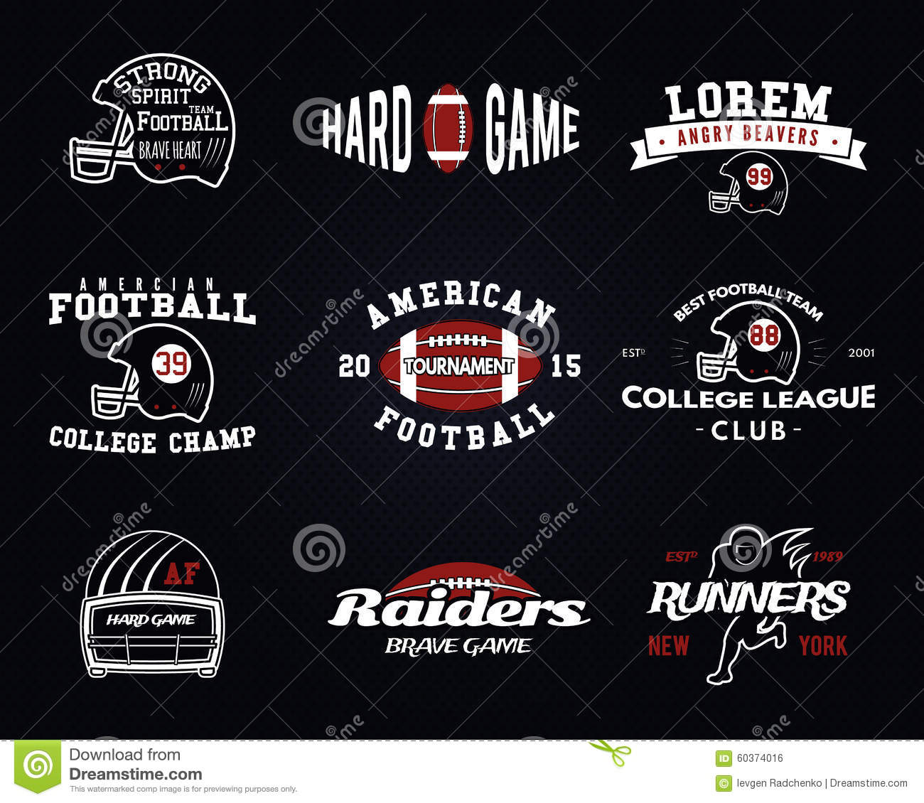 415bc7c56 Set of American football, college league labels, logos, badges, insignias,  icons in vintage style. Graphic design for t-shirt, web. Color emblems  isolated ...