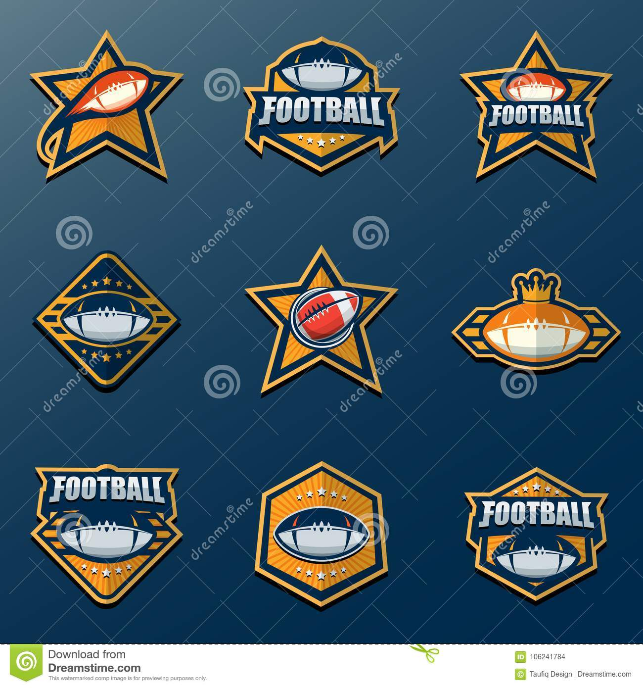 Set Of American Football Logo Template Vector College Logos Ill
