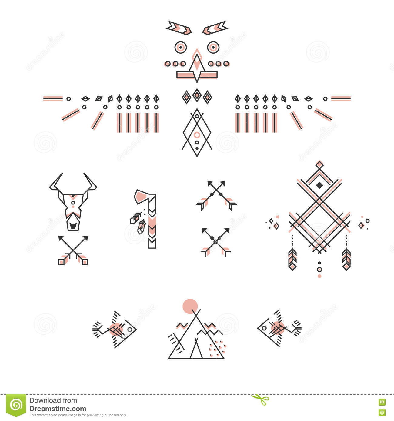 Set Of American Indian Symbols Stylized Linear Design Stock Vector