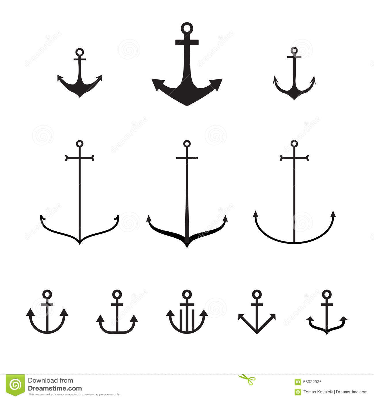 Simple Vector Line Art : Set of anchors modern simple design line stock