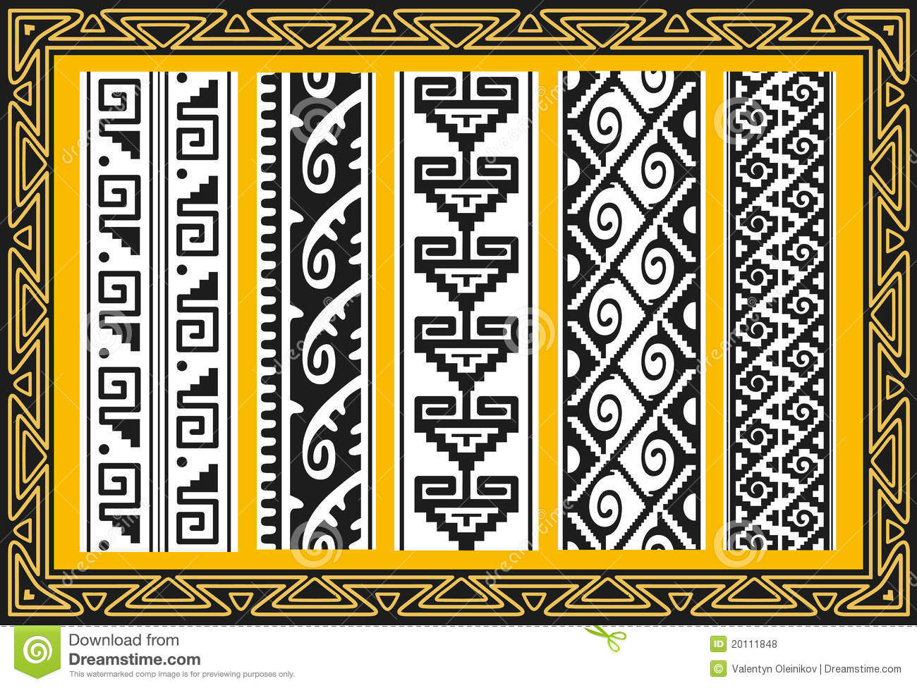 Set of ancient american indian patterns — Stock Vector © Valentin ...