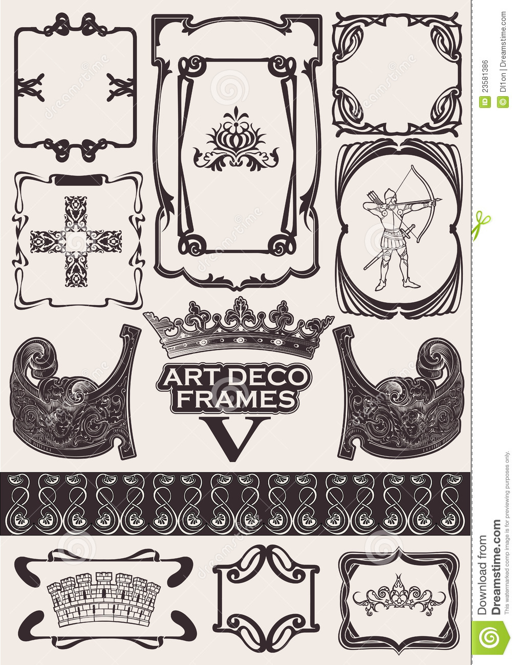 Set of ancient frames in art deco style royalty free stock for Art deco look
