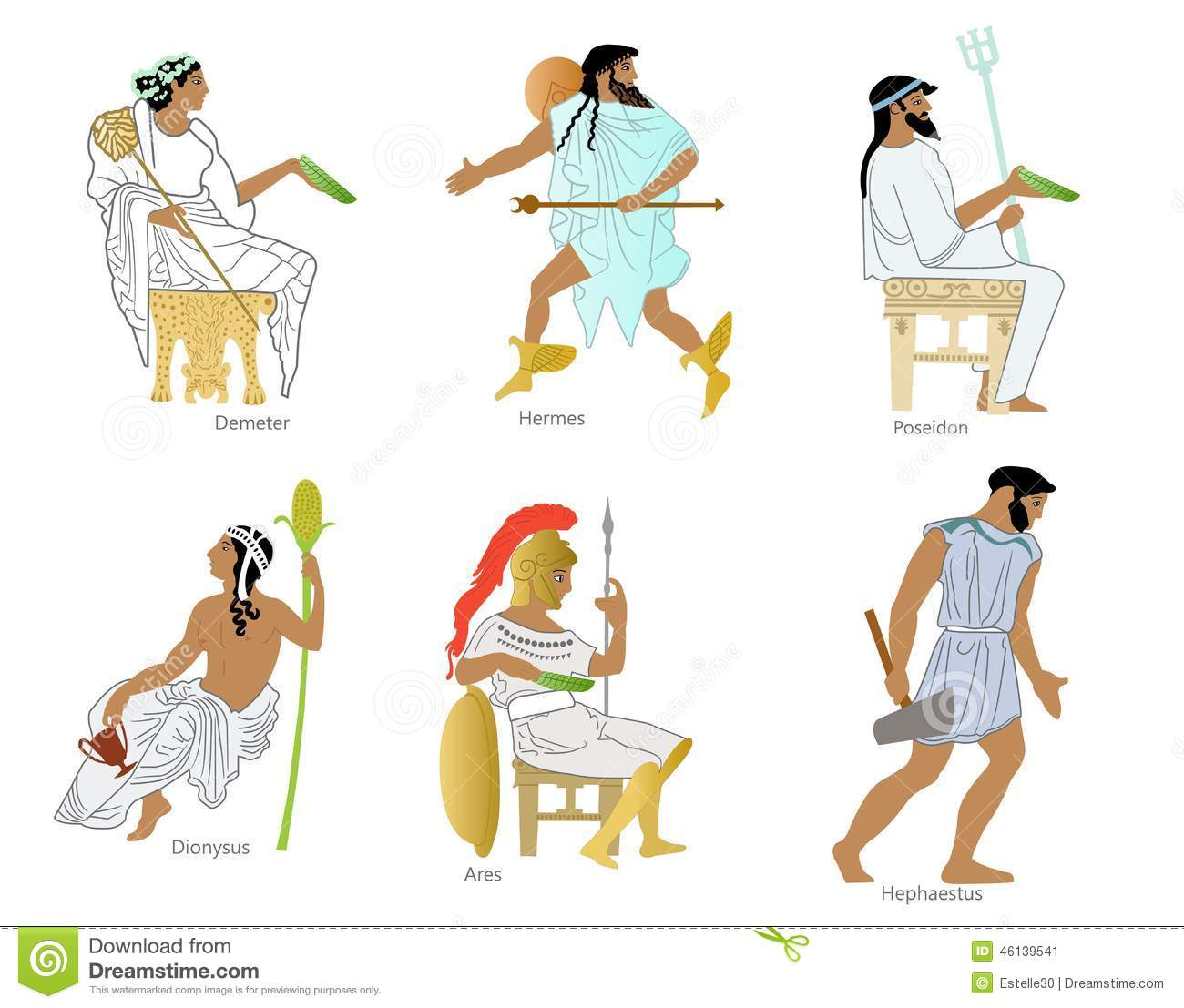 A Set Of Ancient Greek Gods And Goddesses Stock Illustration ...