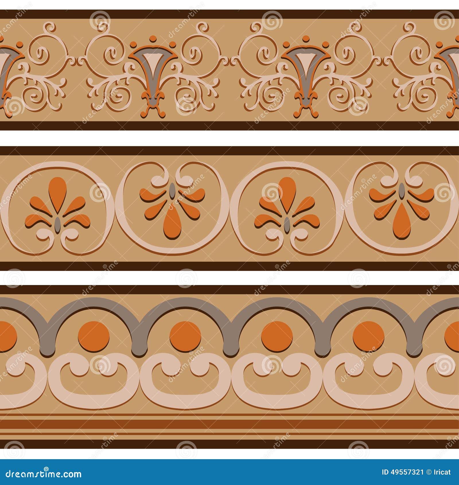 set of ancient roman ornaments border patterns  stock