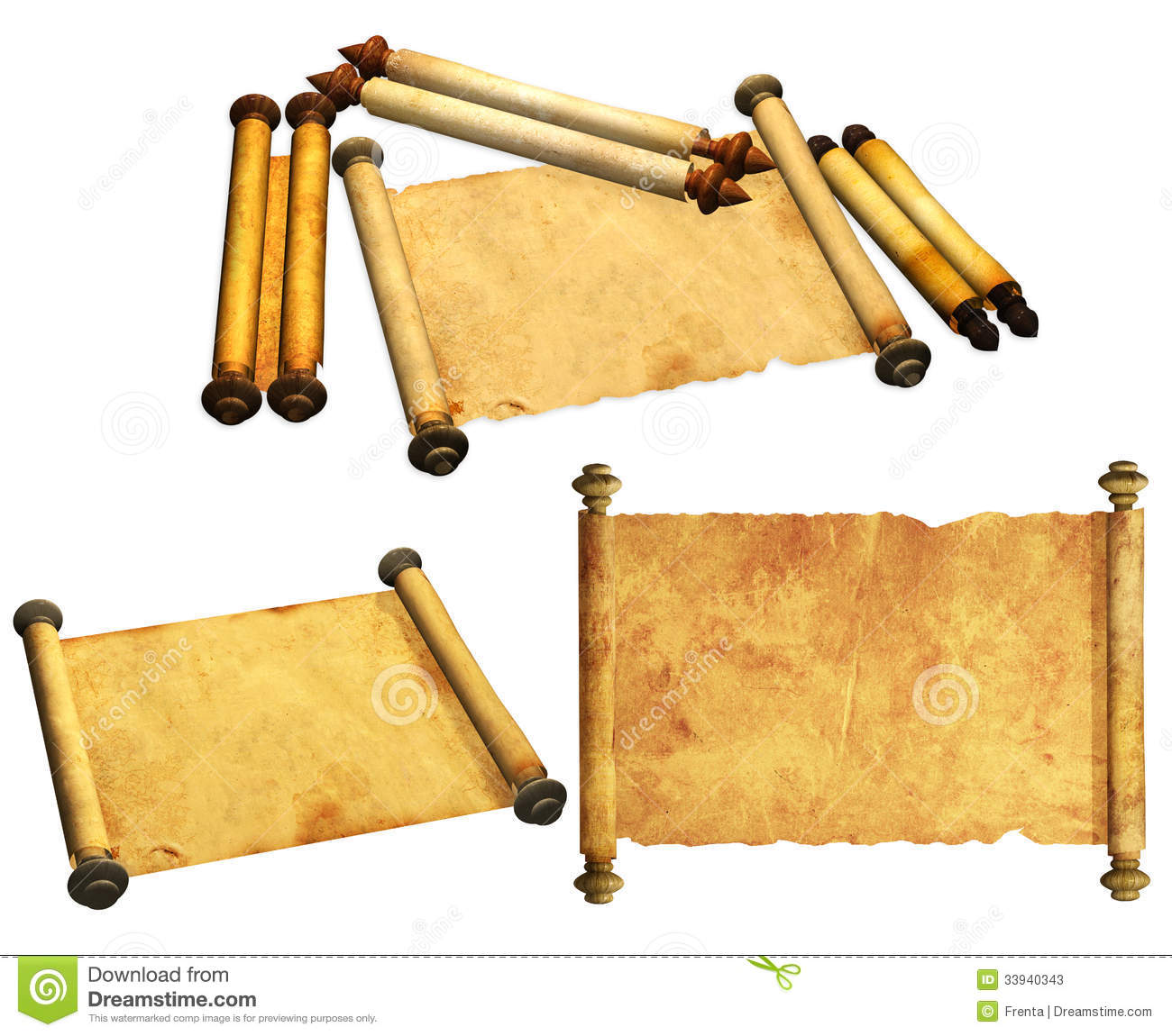Ancient Scroll: Set Of Ancient Scrolls Stock Photos