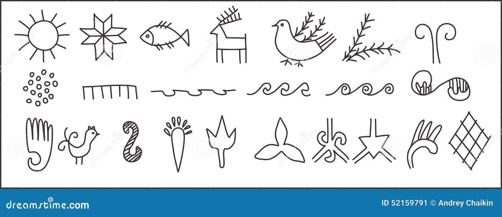 Set Of Ancient Symbols Stock Vector Illustration Of