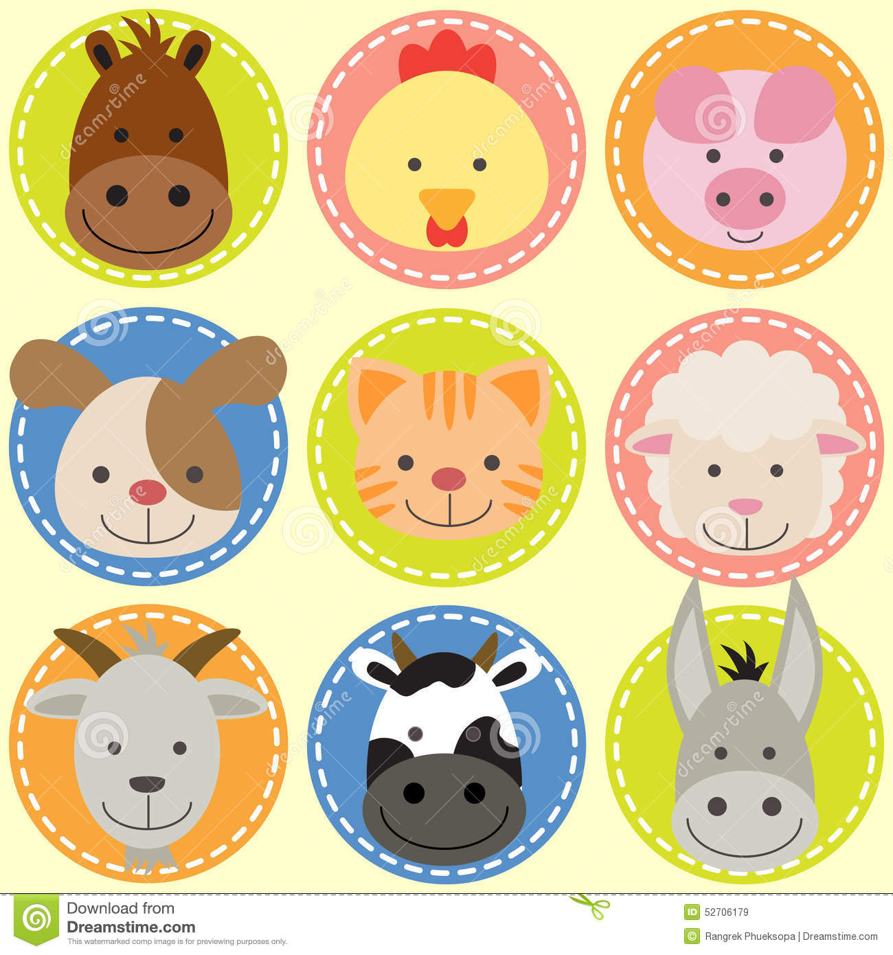 Set Of Animal Faces Stock Vector Image 52706179