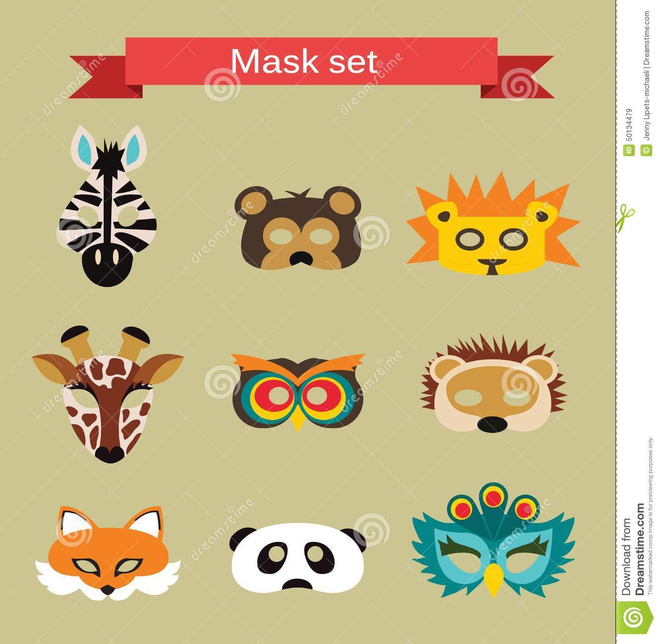 Set Of Animal Masks For Costume Party Stock Vector Image