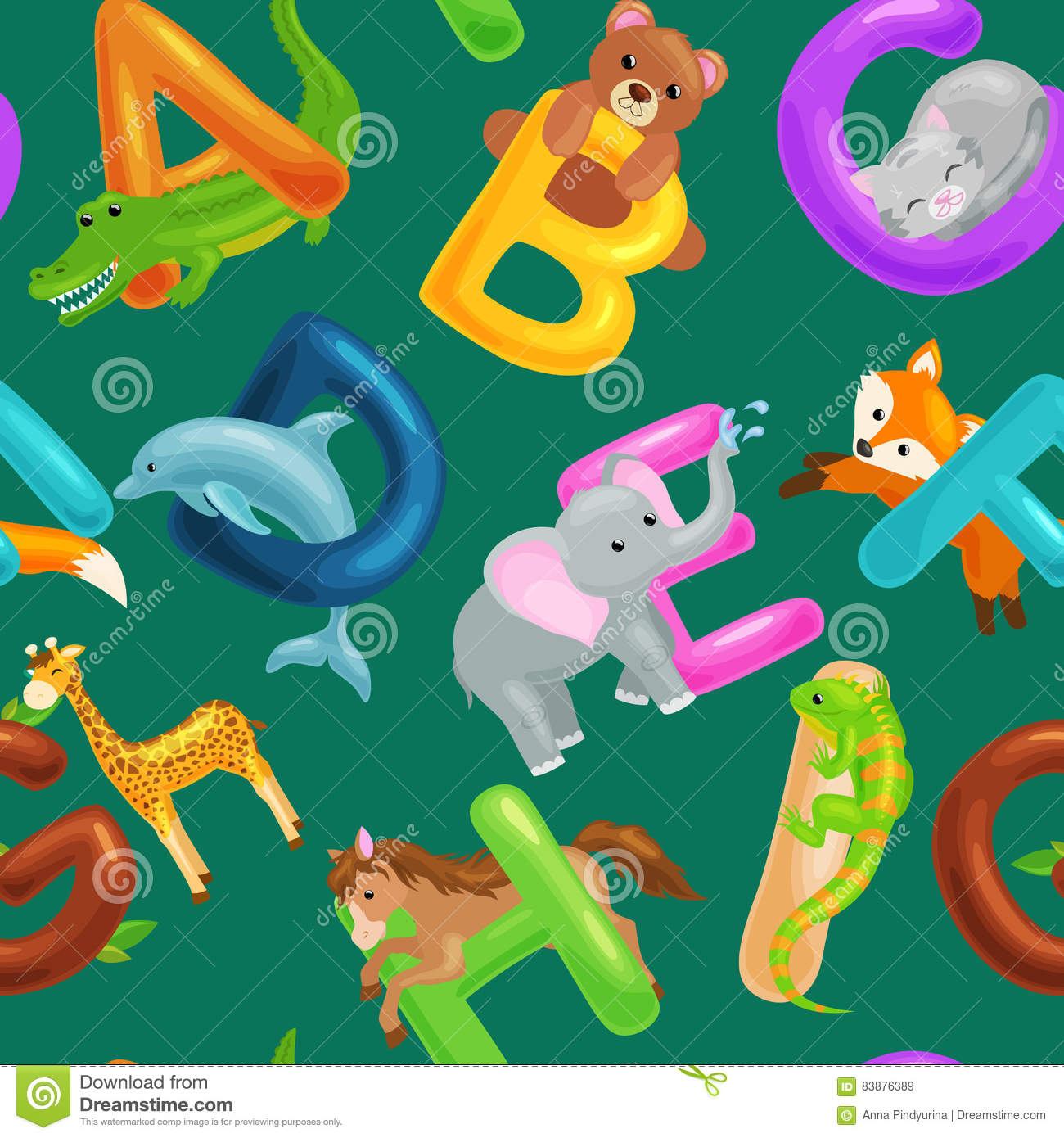 set of animals alphabet for kids fish letters cartoon fun abc education in preschool