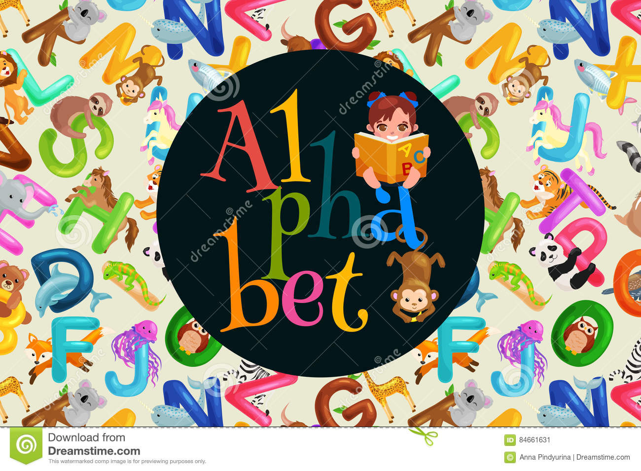 Set of animals alphabet for kids letters, cartoon fun abc education in preschool, cute children zoo collection learning