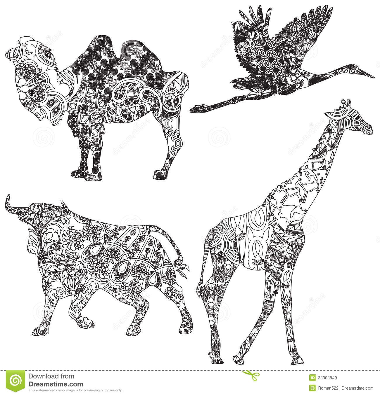 Animal ornaments - Set Of Animals In The Ethnic Ornament