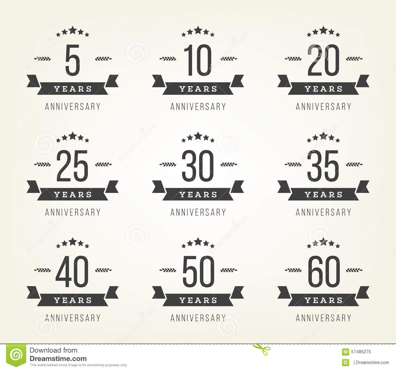 Set Of Anniversary Signs Symbols Five Ten Twenty Thirty Forty Fifty Years Jubilee Design