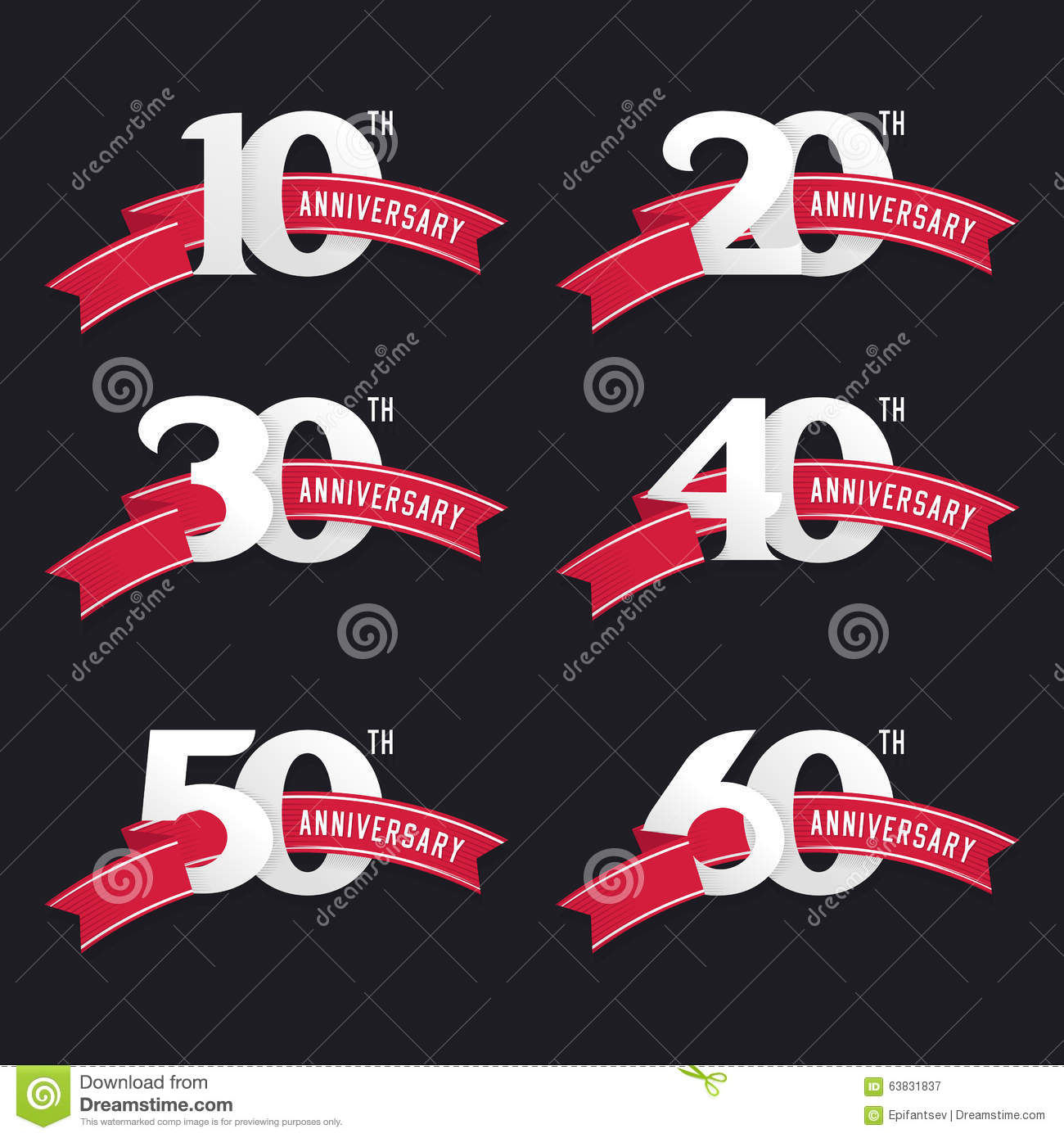 The Set Of Anniversary Signs From 10th To 60th Stock Vector