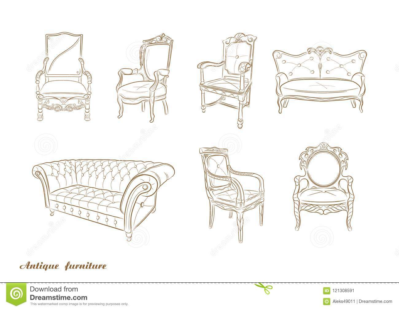 Set Of Antique Furniture Armchair Sofa Vector Stock Vector Illustration Of Design Pattern 121308591