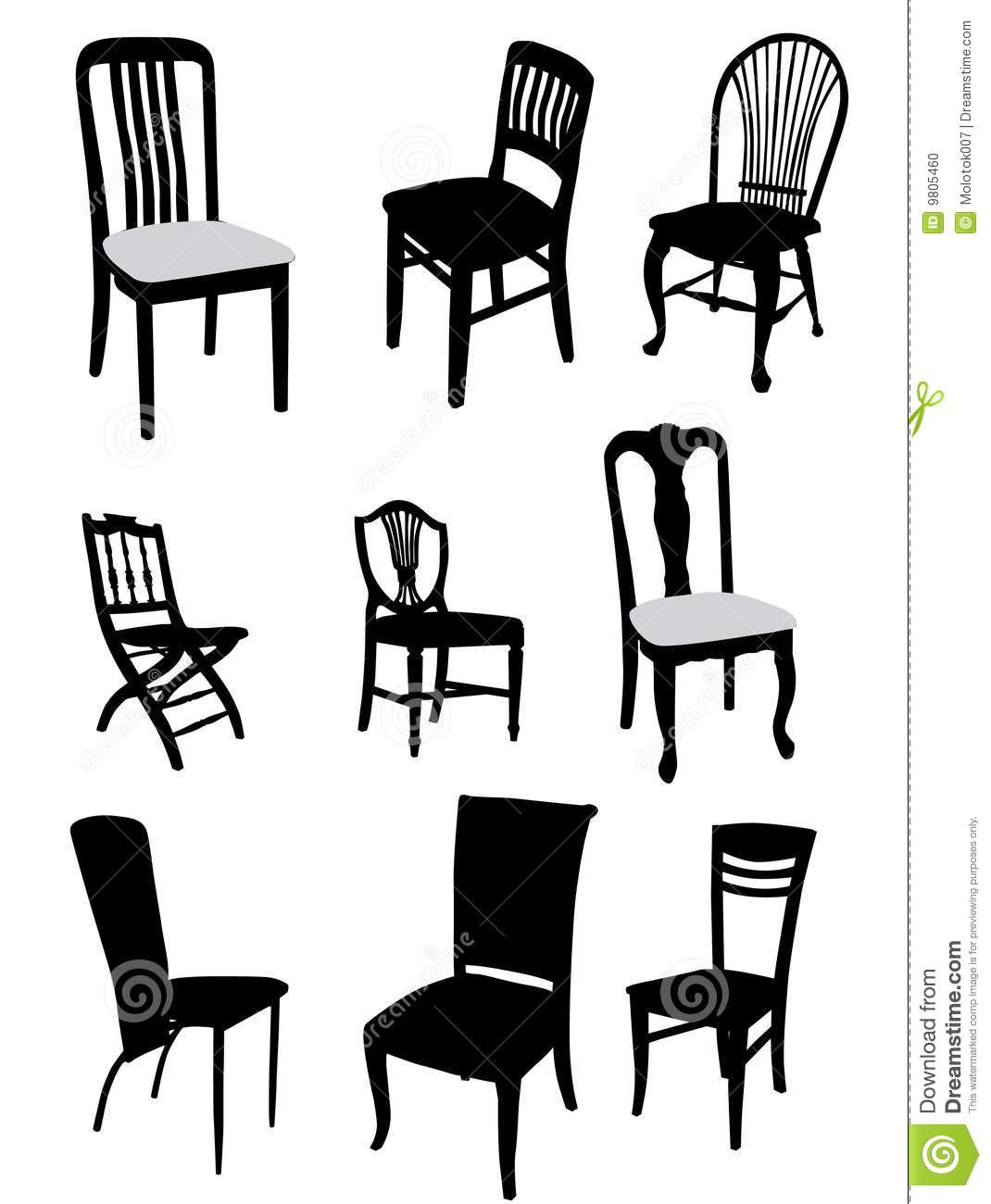 Antique chair silhouette - Set Of Antique Furniture Vector