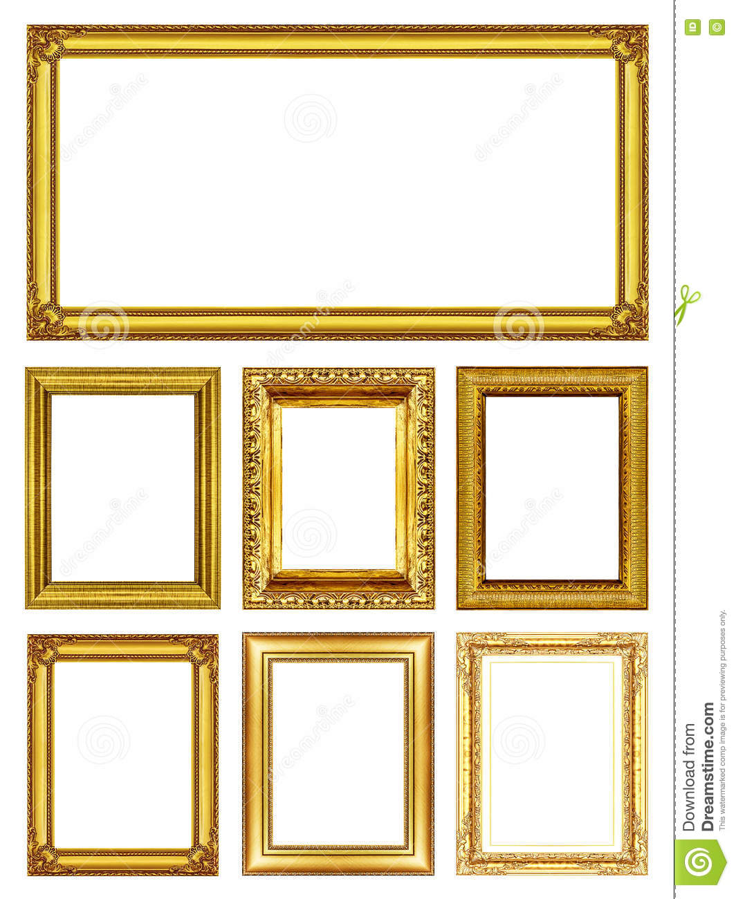 Set 7 Of Antique Gold Frames â Isolated On White Stock Photo