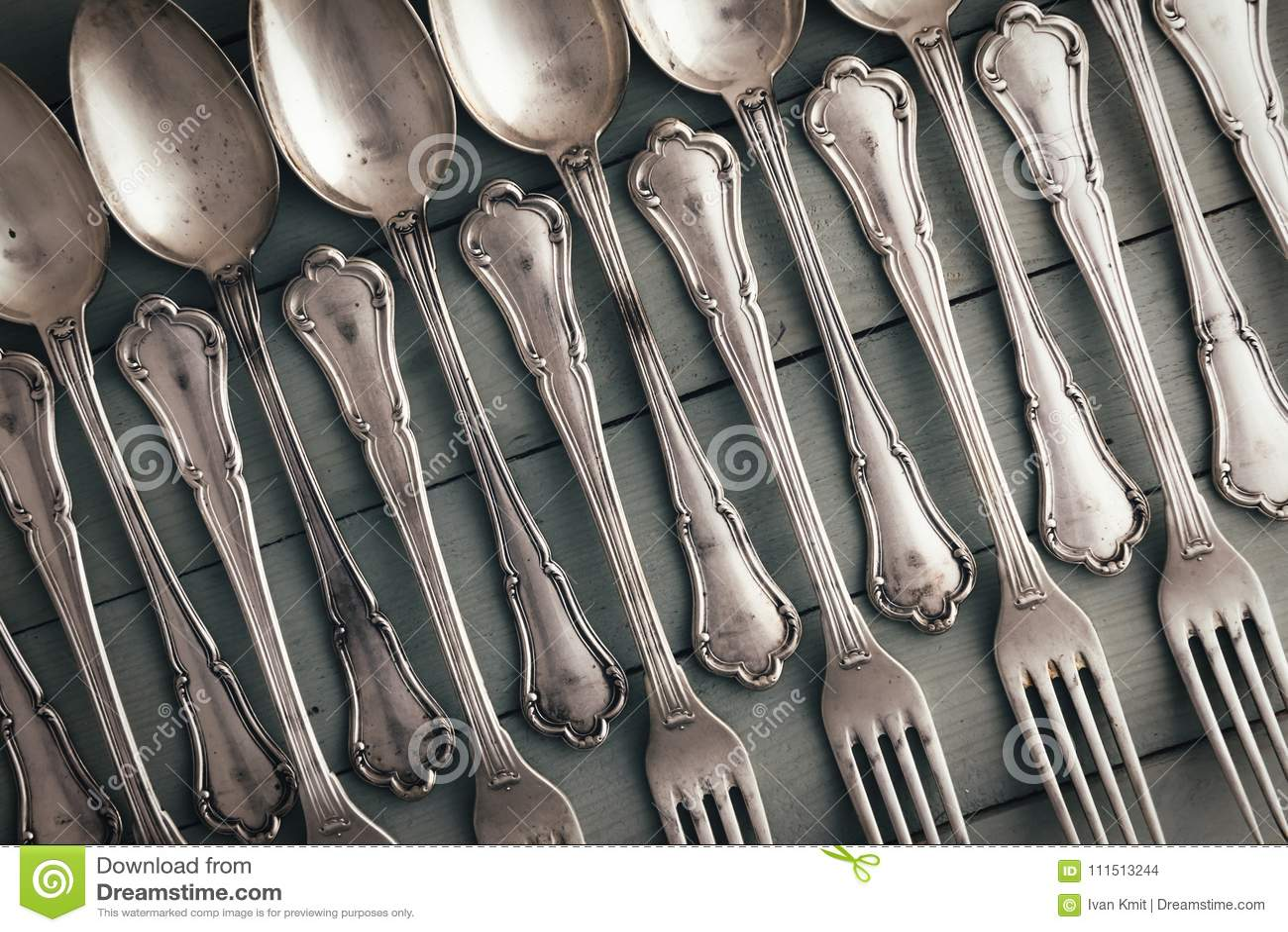 Set Of Antique Silverware Stock Photo Image Of Food
