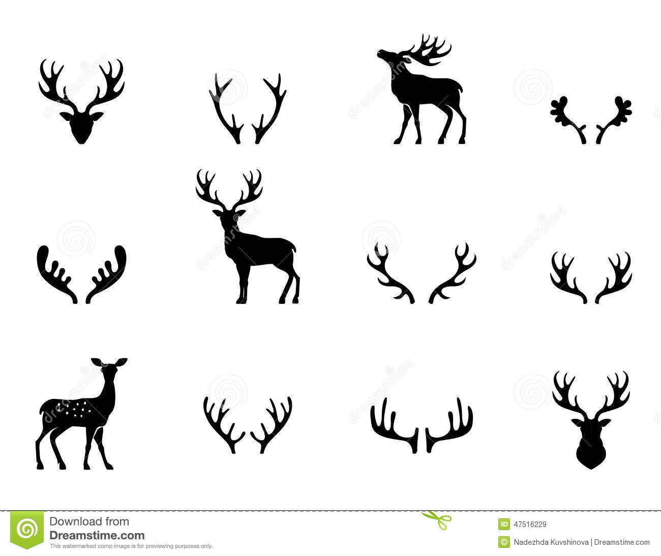 set of antlers silhouette vector stock vector  image