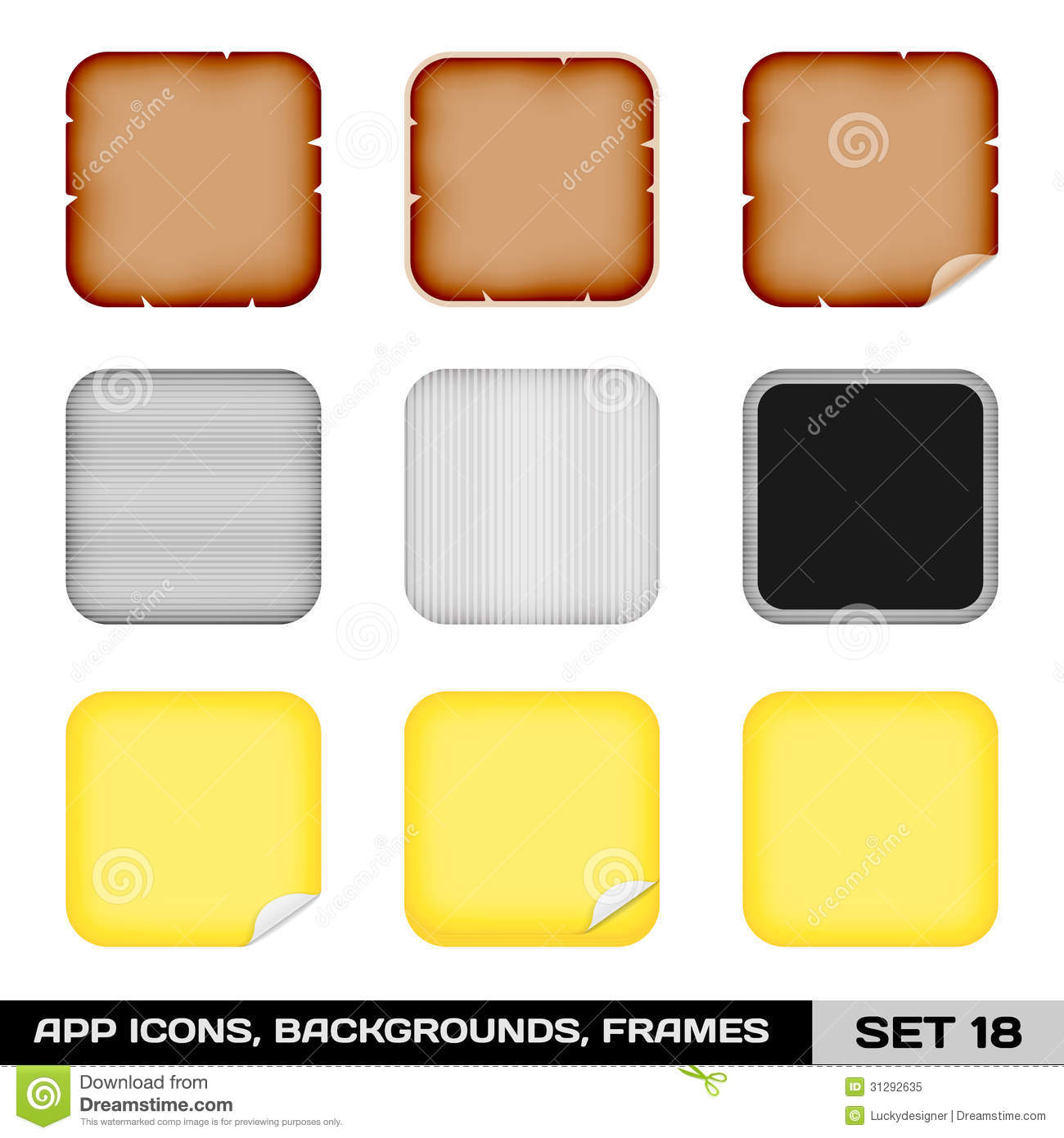 Set Of App Icon Frames, Templates, Backgrounds. Set 18 Stock Vector ...