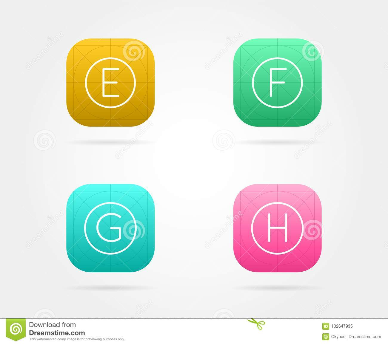 set of app icon template with guidelines stock illustration