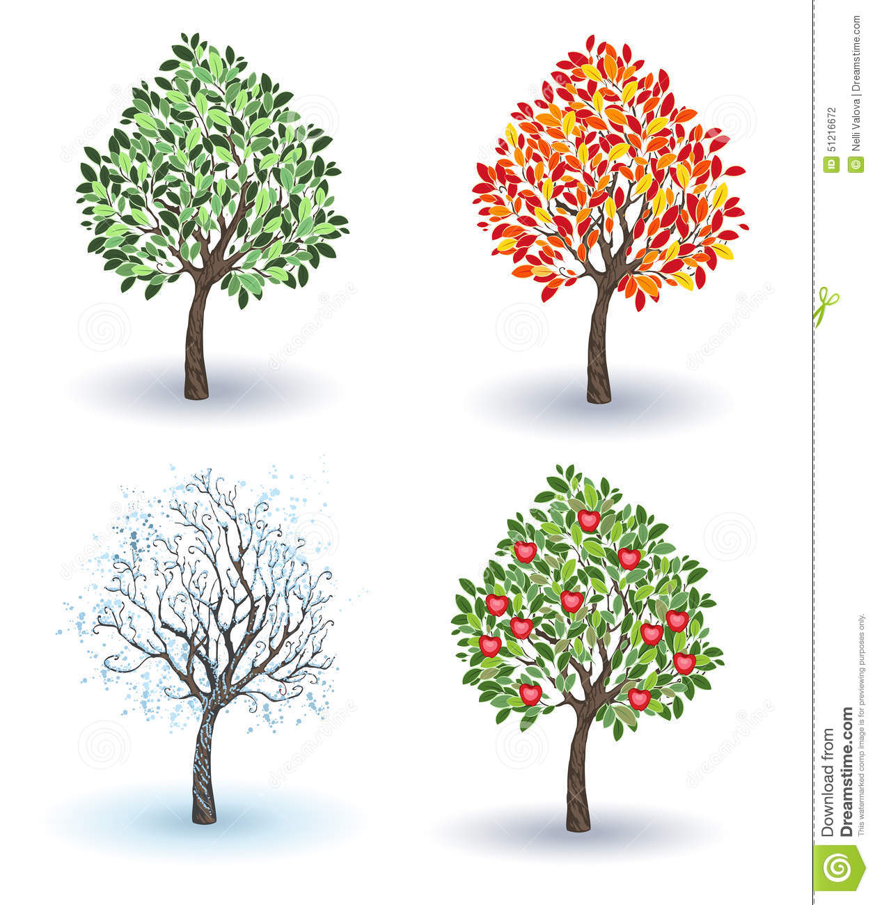 Set of apple trees stock vector illustration of nature 51216672 - Autumn plowing time all set for winter ...