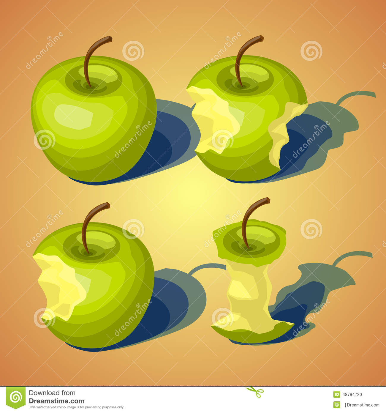 Set Of Of Apples Gradually Eaten Stock Photo