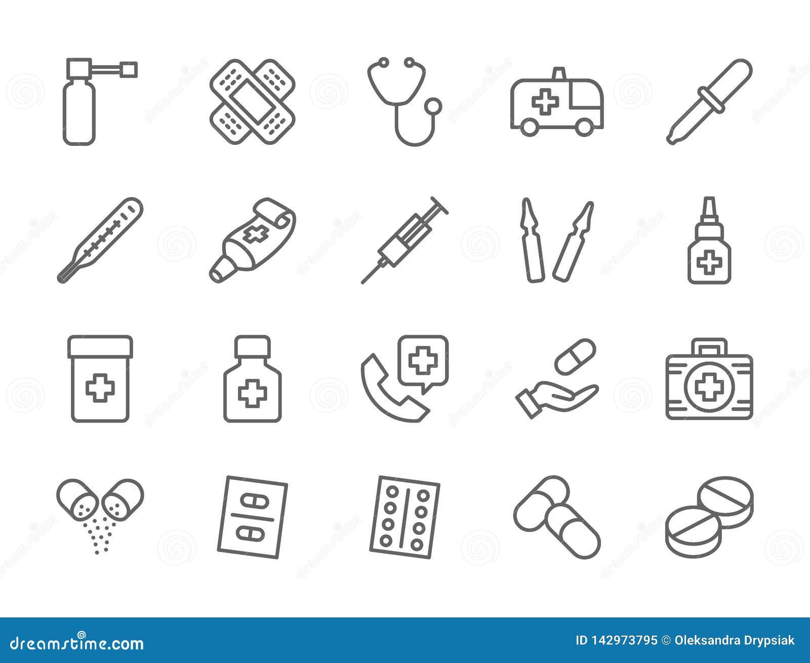 Set apteka i lekarstwa Wykładamy ikony Ambulansowy samochód, stetoskop i więcej,