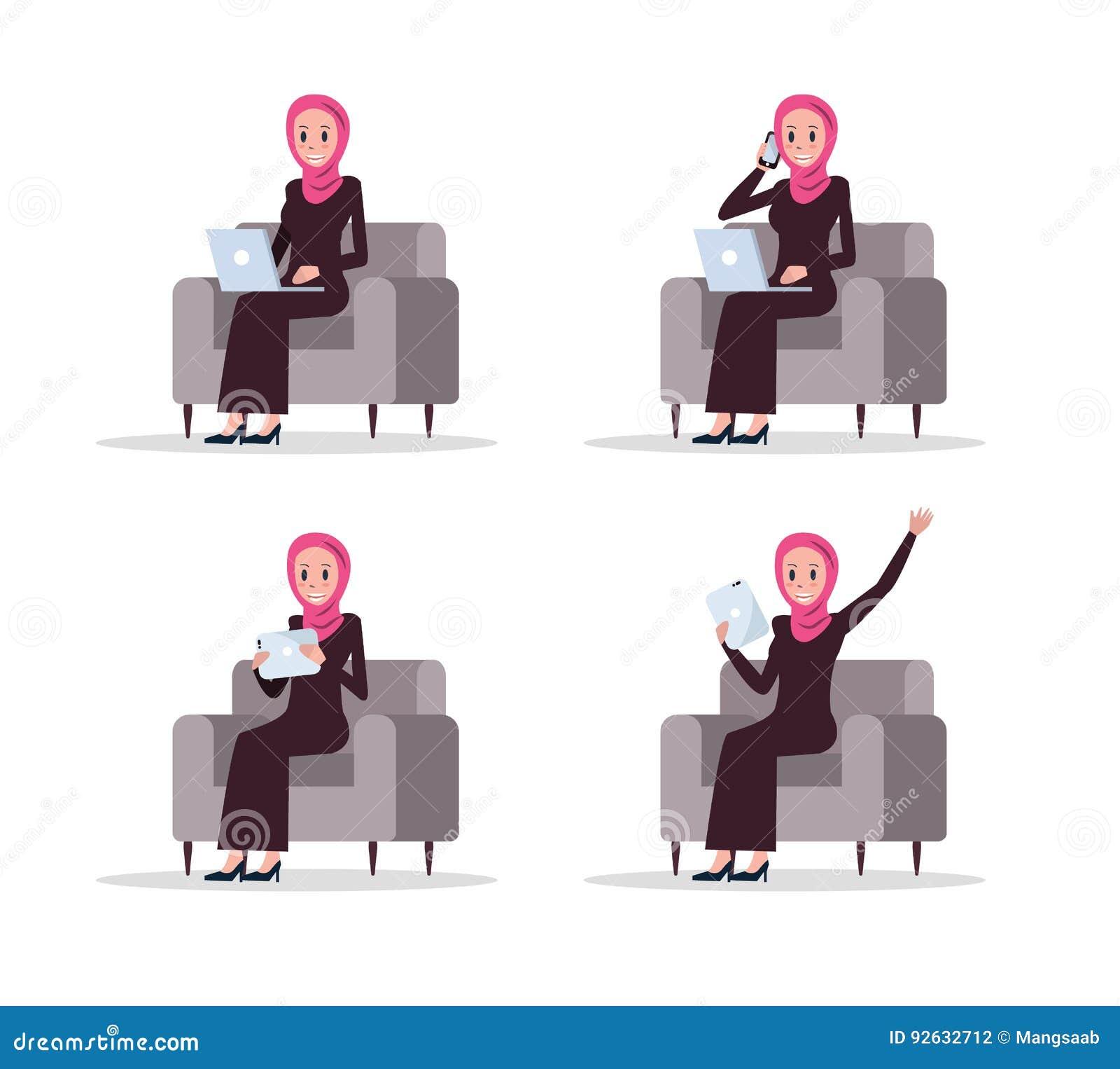 Character Design Using Illustrator : Set of arab business woman using smart device on sofa