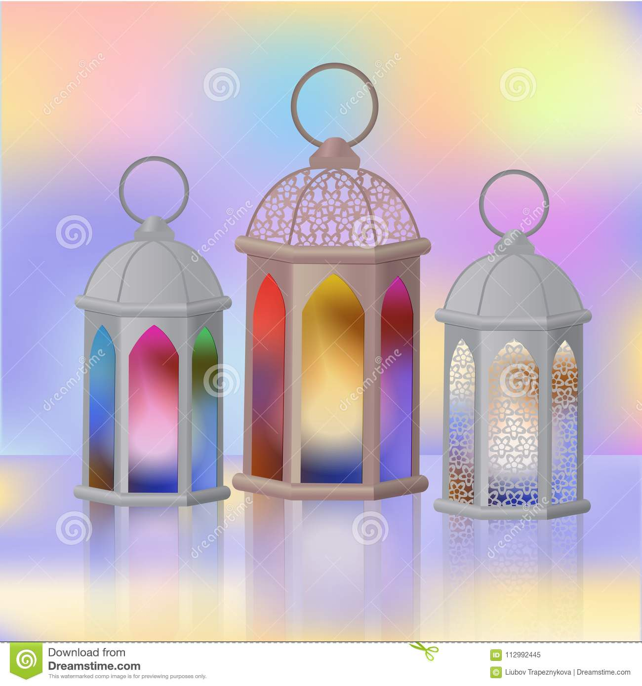 A set of Arab lanterns with multi-colored glass. Fanous is the symbol of Ramadan.