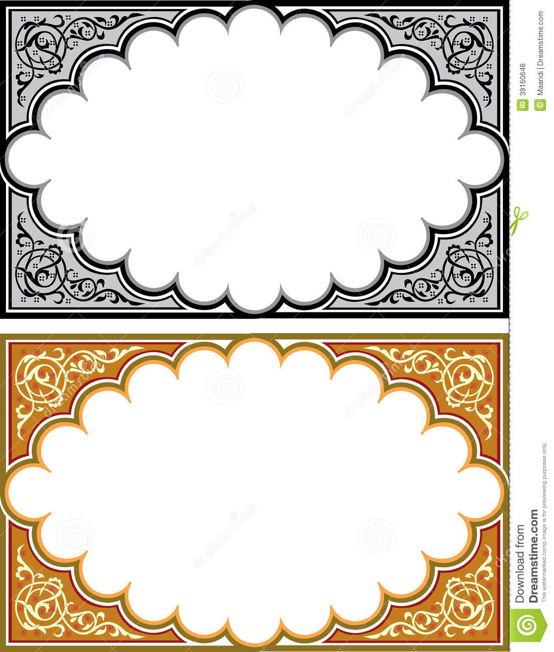 Set of arabesque borders stock vector image of leaf for Arabesque style decoration