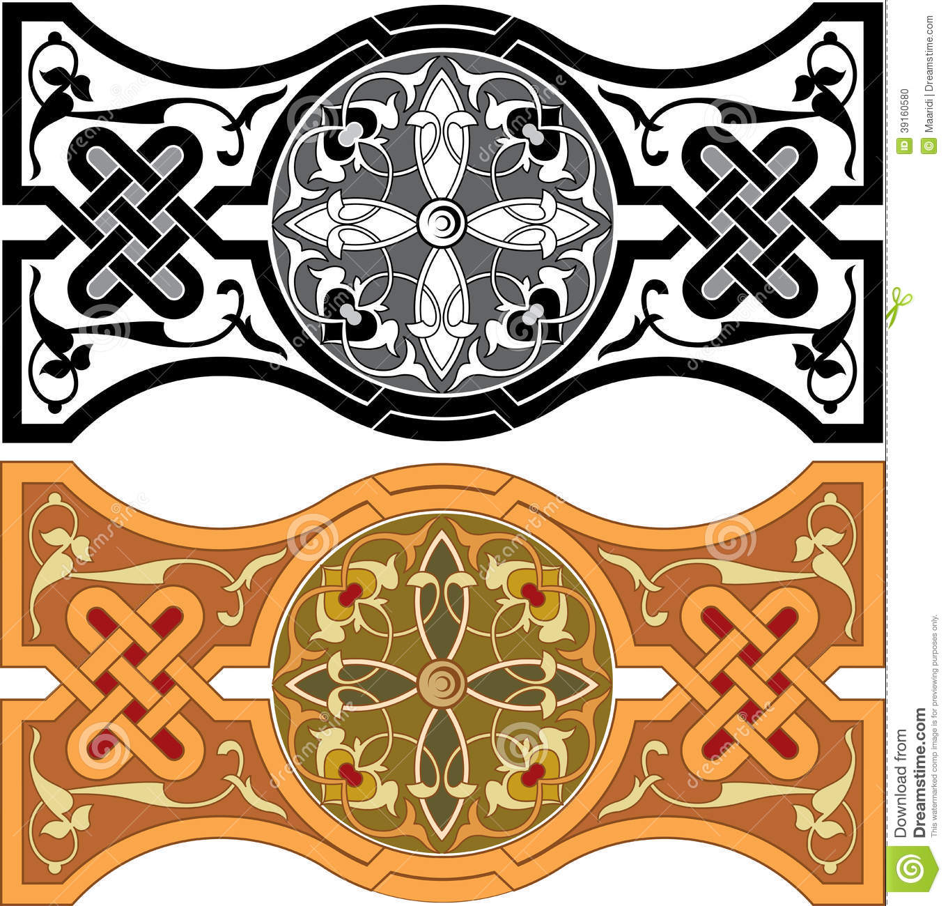 Set of arabesque pattern stock vector image 39160580 for Arabesque style decoration