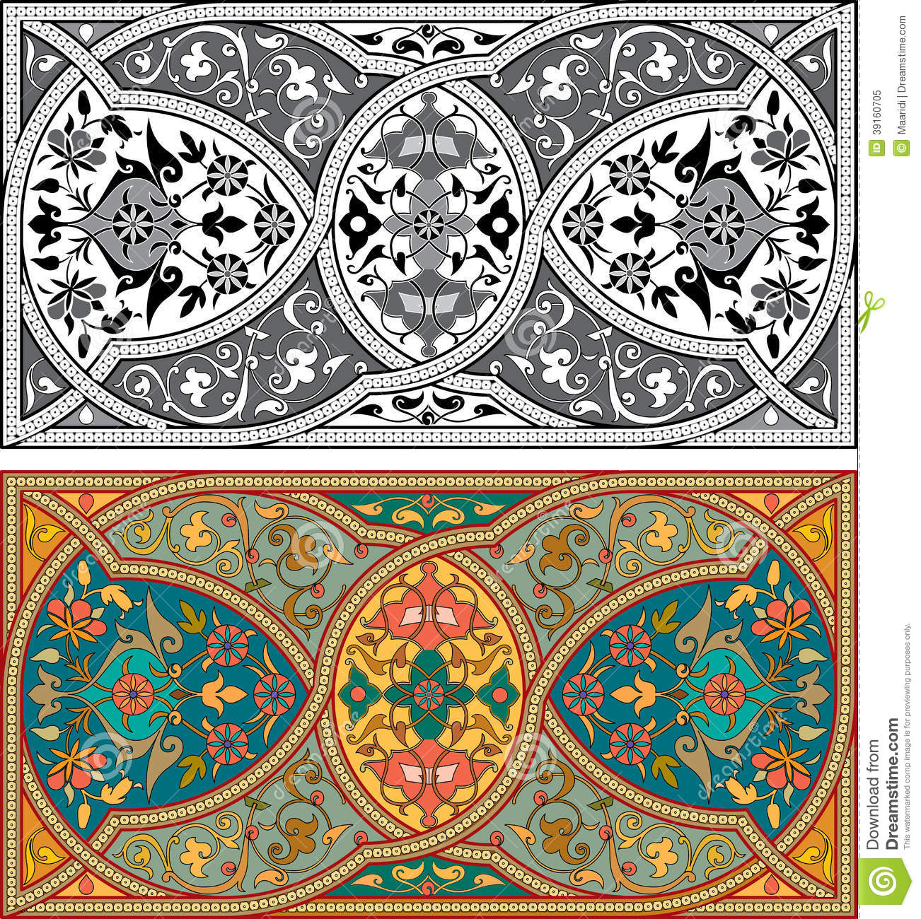 Set of arabesque patterns stock vector image 39160705 for Arabesque style decoration
