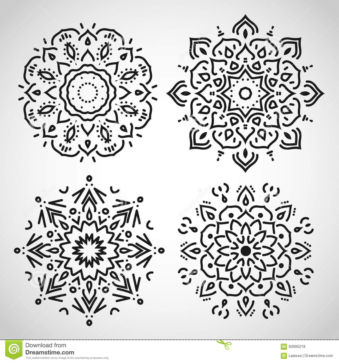 Black and white ornaments - Set Of Arabic Circle Ornaments Black On White In
