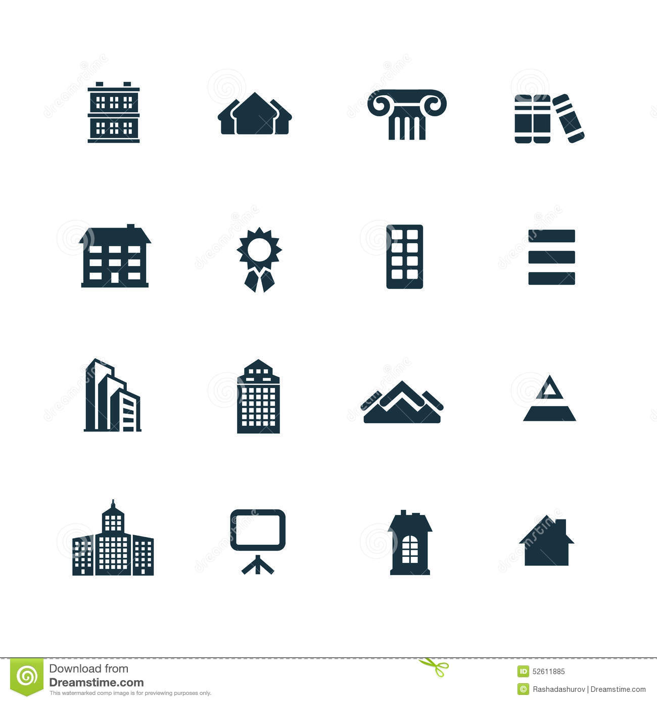 Set of architecture icons stock vector image 52611885 for Architecture icon