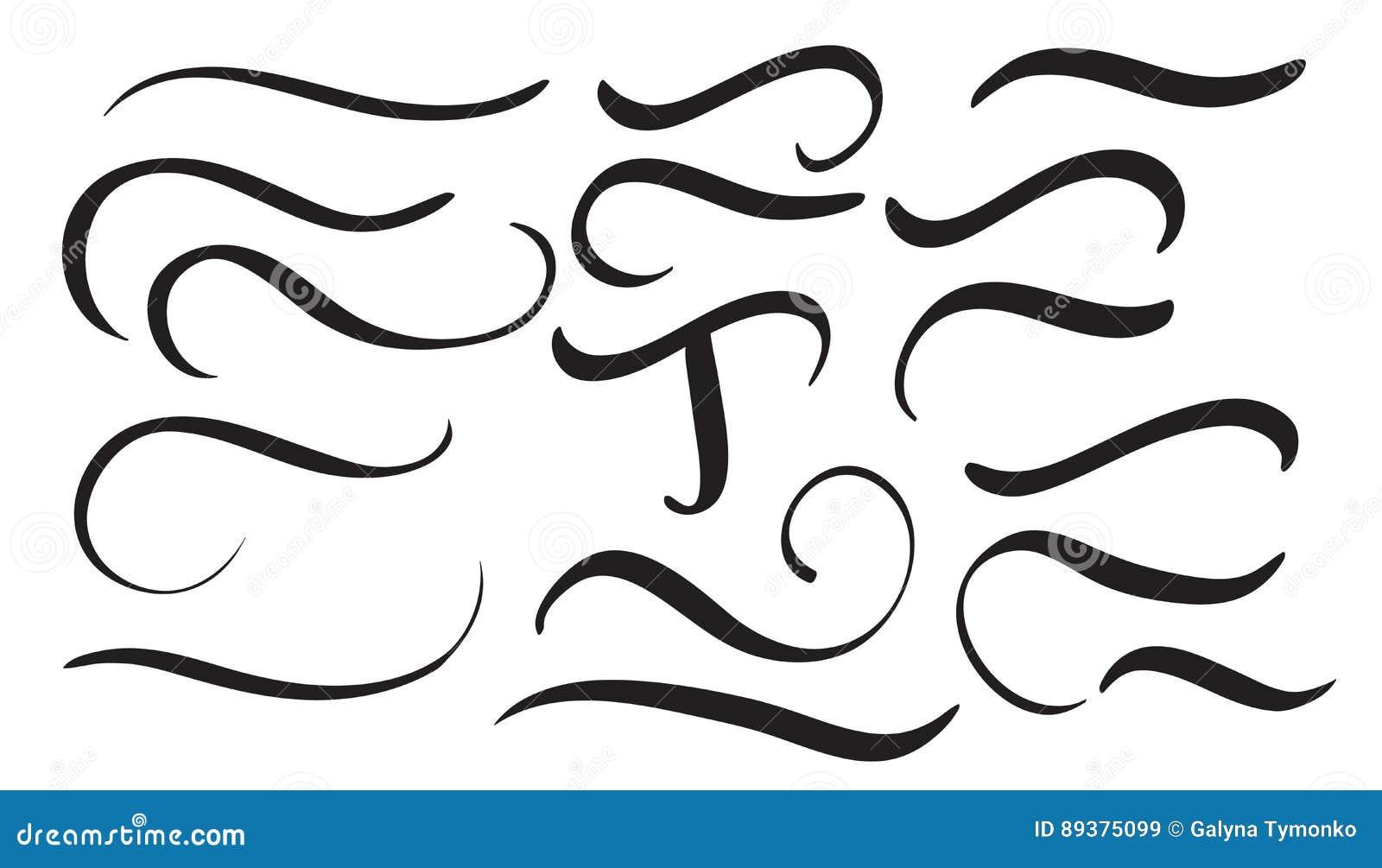 Set Of Vintage Flourish Decorative Art Calligraphy Whorls