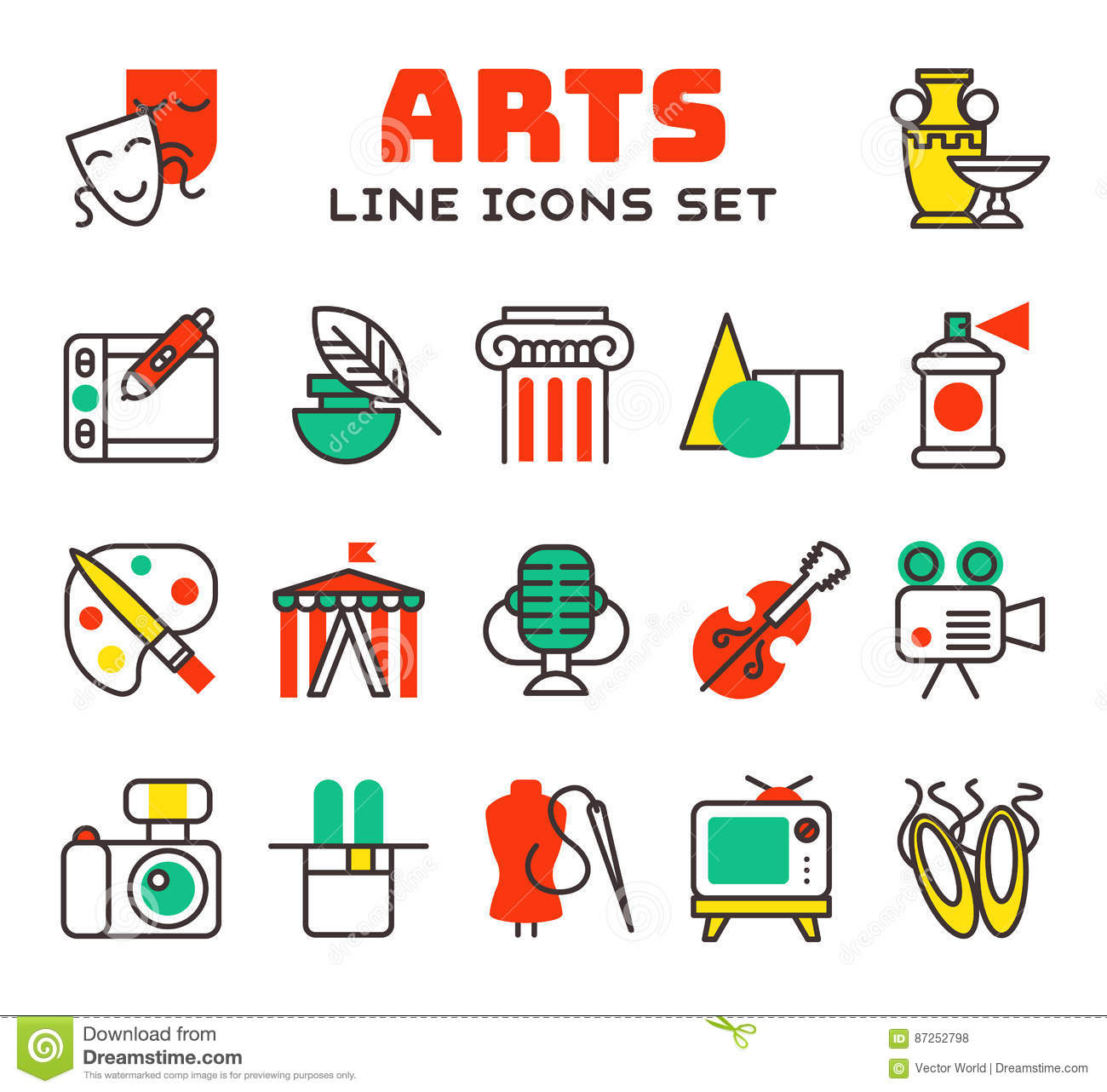 Set Of Art Icons In Flat Design Camera Picture Brush Palette