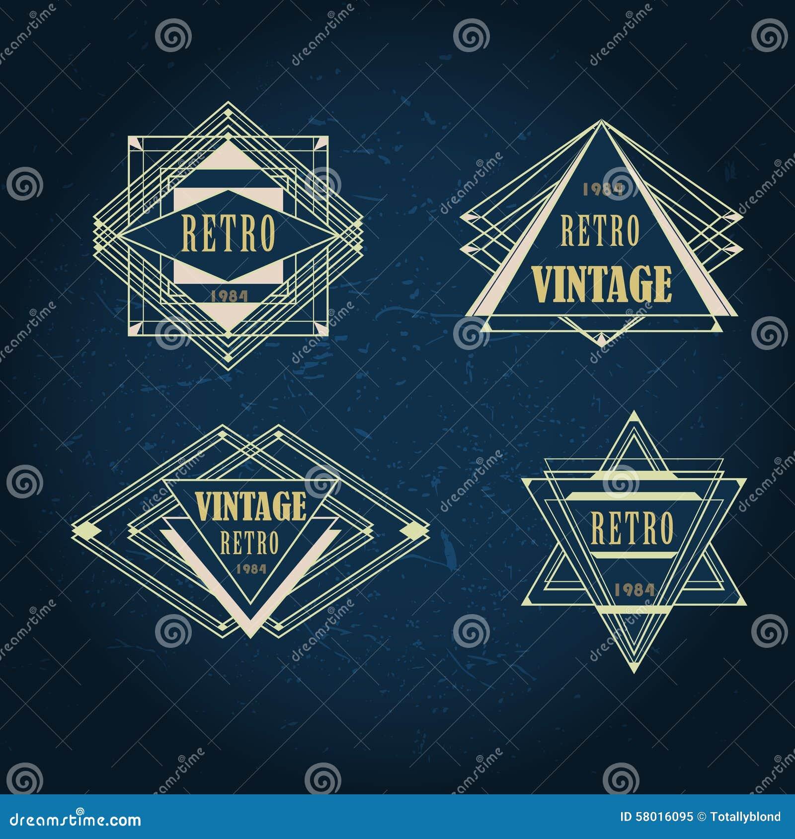 Set Of Artdeco Vintage Labels Logo Frames Stock Vector Image