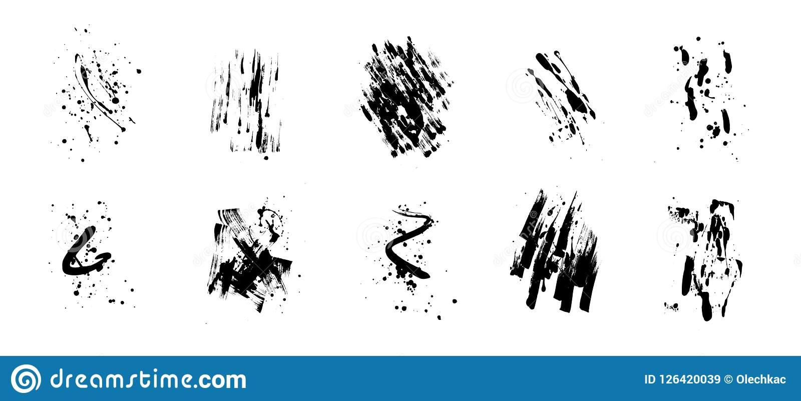 Set of artistic black grunge backgrounds. Vector texture. Dirty artistic design element. Brush stroke, splatter.