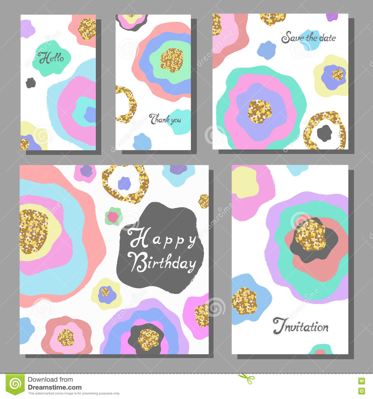 Set Of Artistic Colorful Universal Cards Wedding Anniversary Birthday Holiday Party Stock