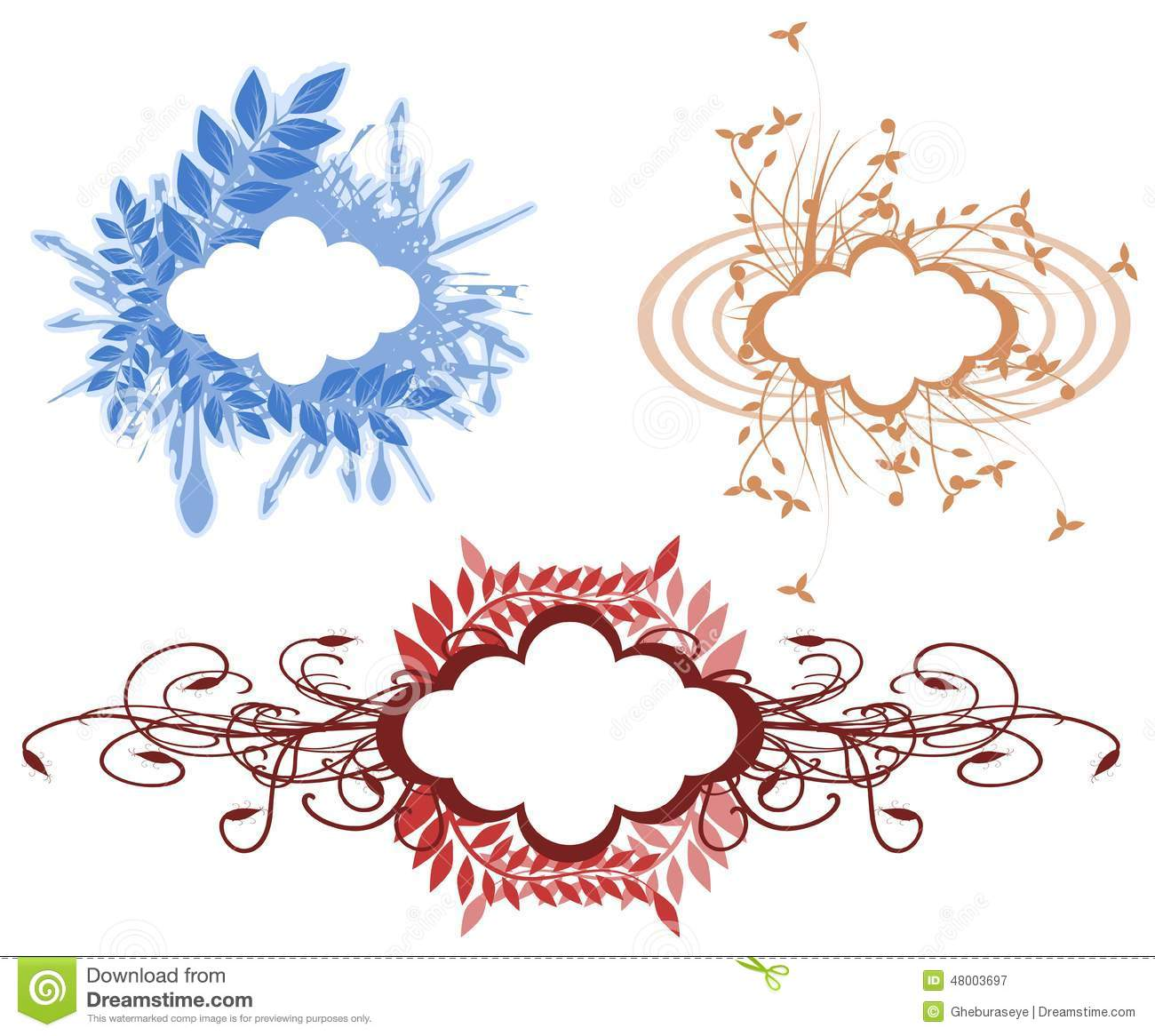 Set Of Artistic Floral Labels Isolated Stock Illustration - Image ...