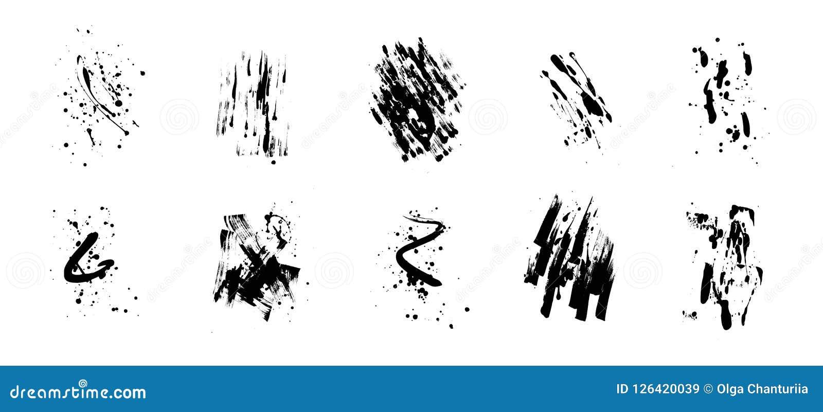 Set artystyczni czarni grunge tła najlepszego ściągania oryginalni druki przygotowywali teksturę Brudny artystyczny projekta elem