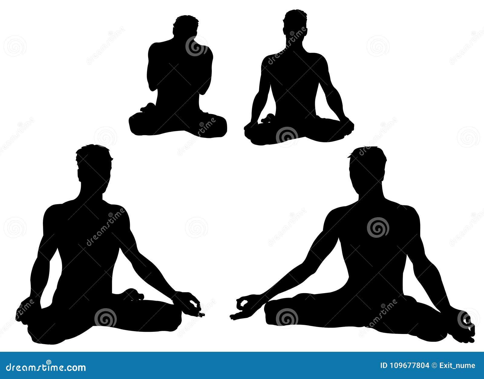 A Set Of Asanas Poses Yoga Yogi Man Silhouette Representing Strenght Flexibility Empowerment Through