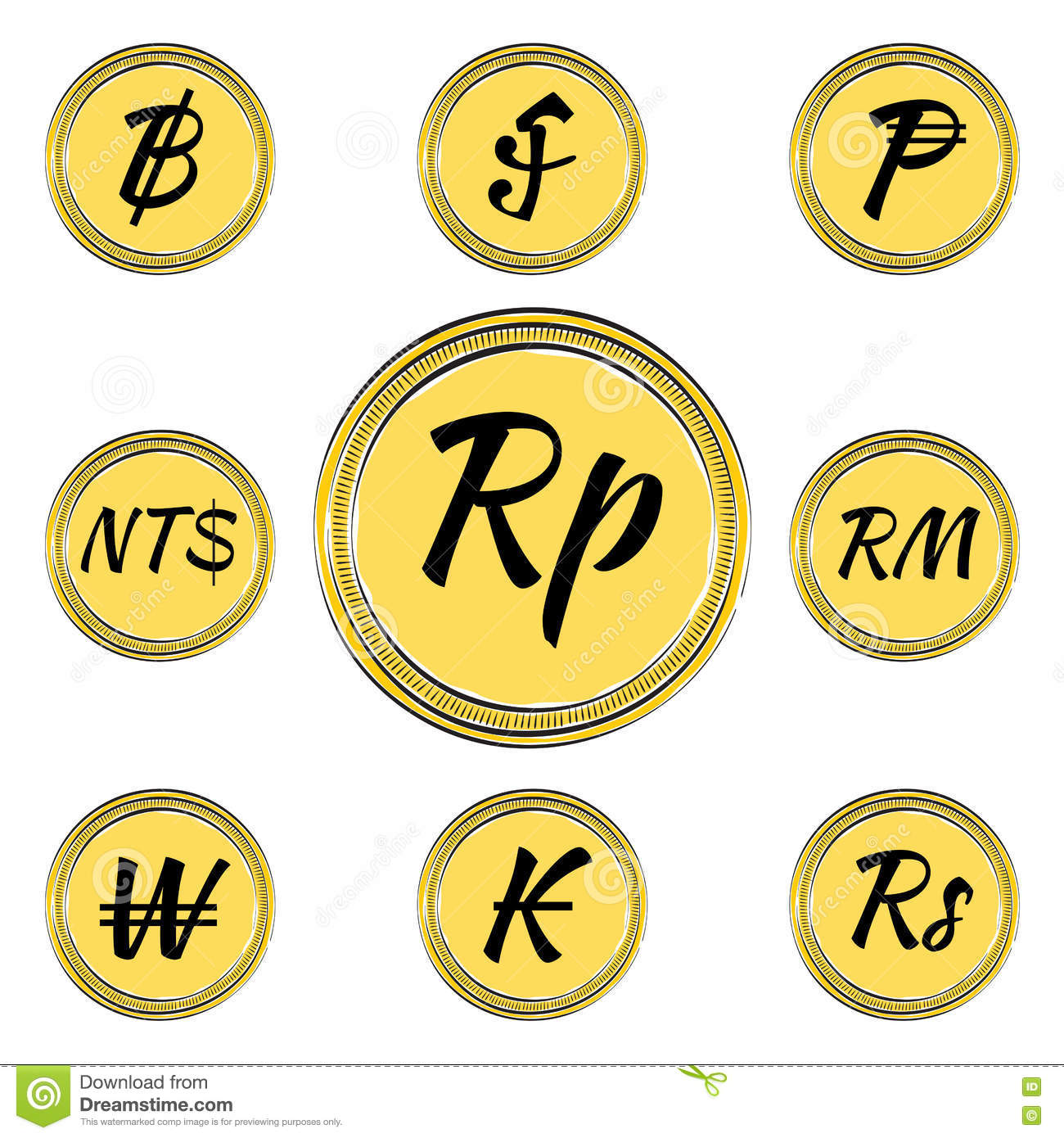 Ringgit stock illustrations 67 ringgit stock illustrations set with asian currency symbols set of coins with symbols of 9 asian currencies buycottarizona Image collections