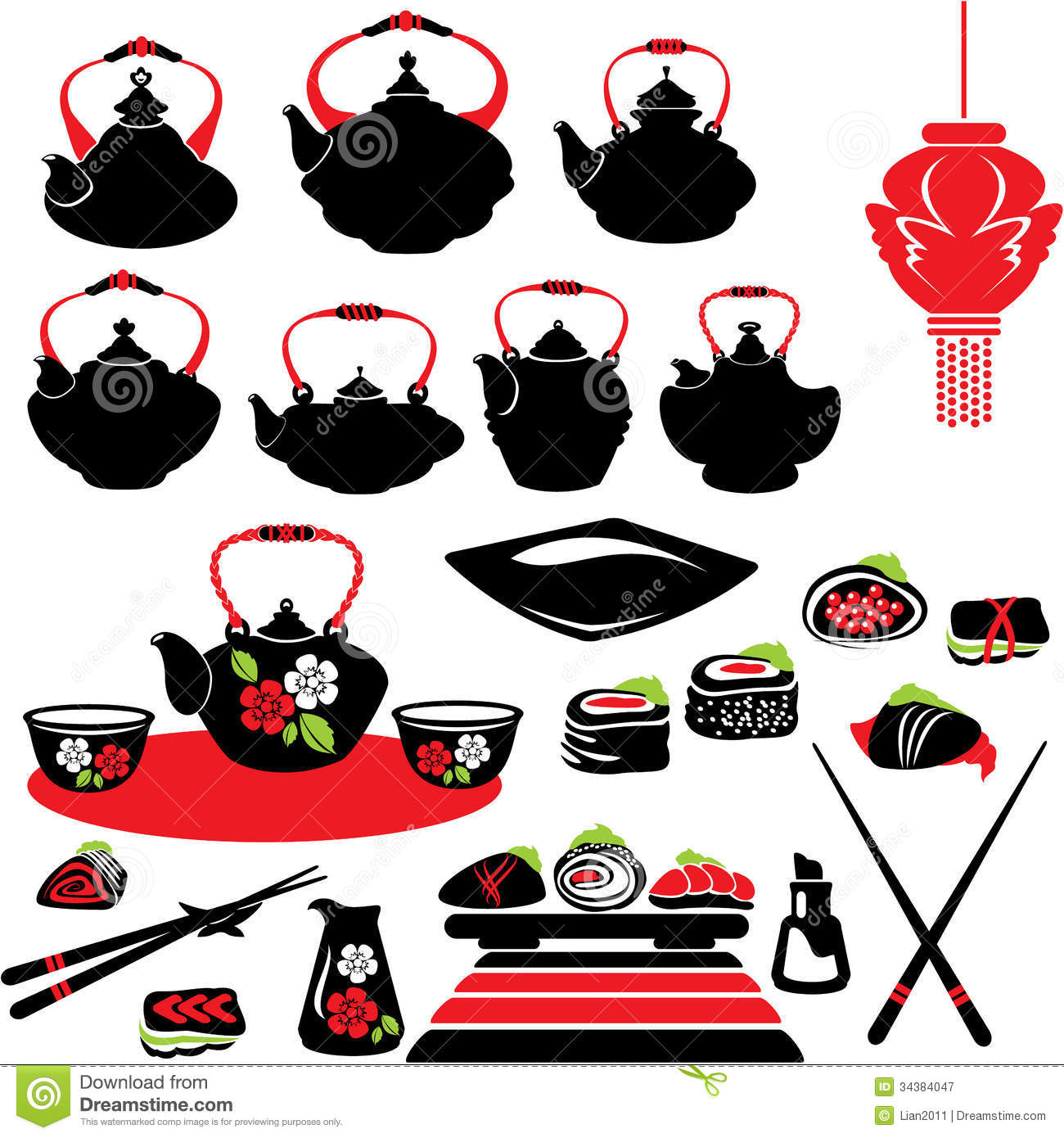 Set Of Asian Food Icons - Teapot, Sushi. Royalty Free Stock ...