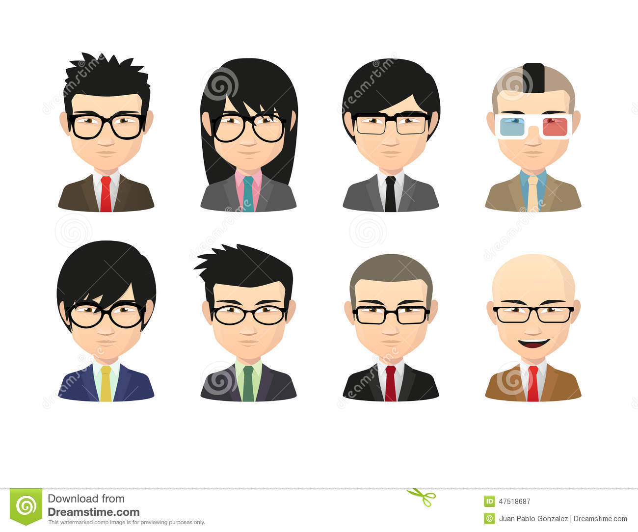 Set Of Asian Male Avatars With Various Hair Styles Wearing
