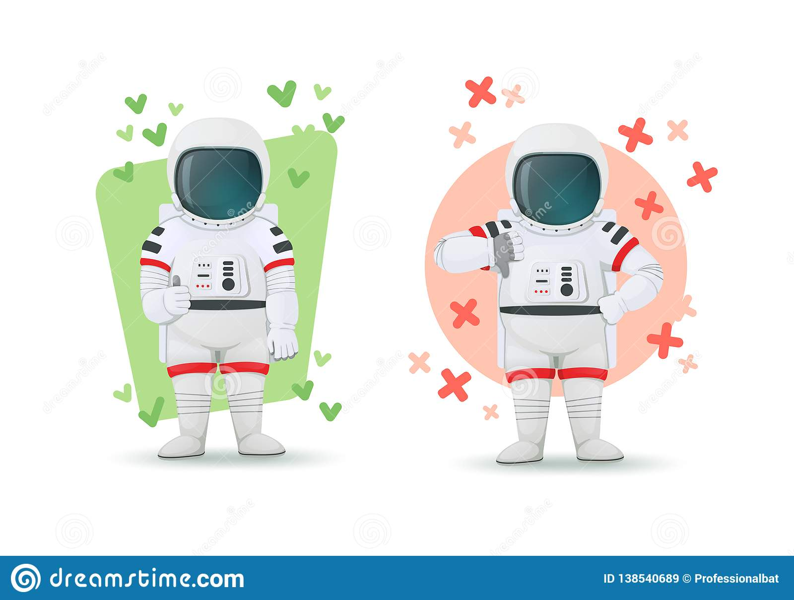 Set of astronauts making gestures of approval and disapproval. One showing thumbs up and other thumbs down sign. Like and dislike