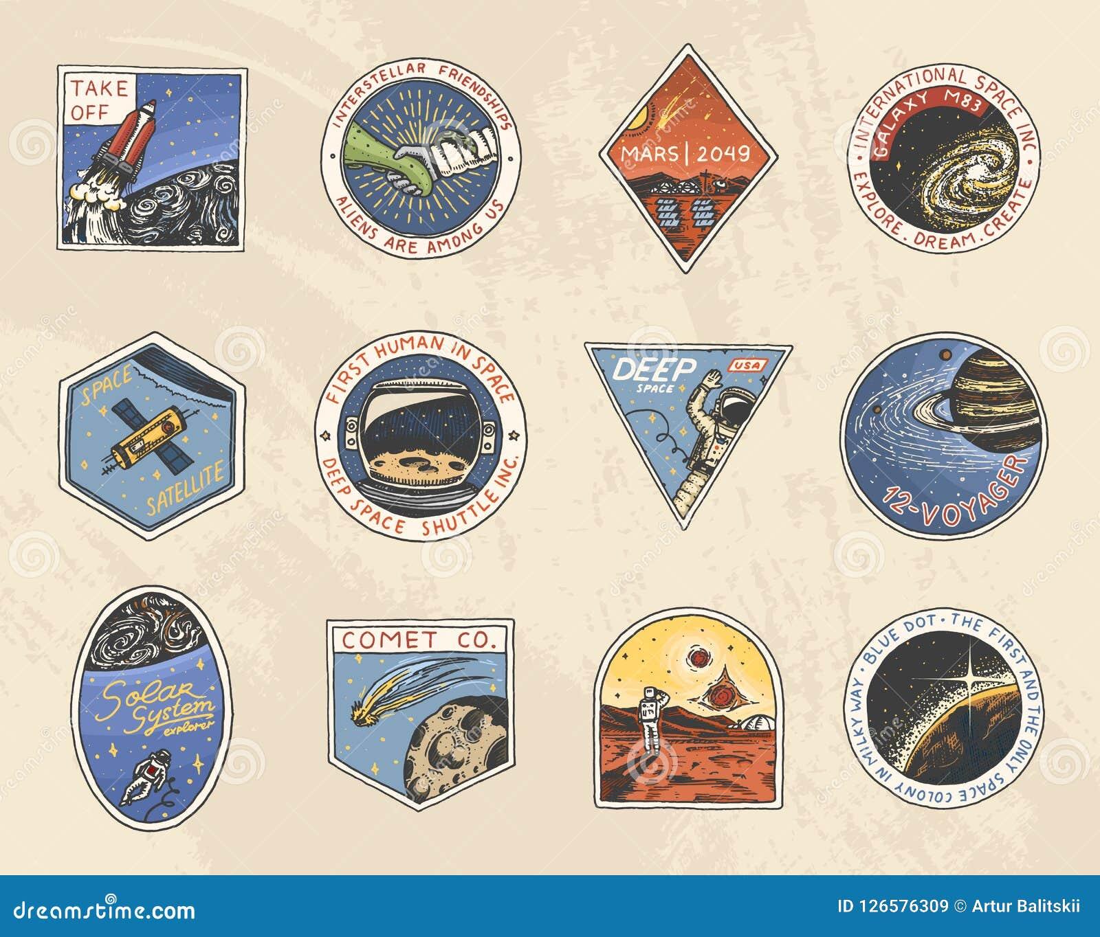 Set Astronautyczny logo Ludzka misja Mars Eksploracja astronomiczny galaxy Astronauta lub kosmita przygoda